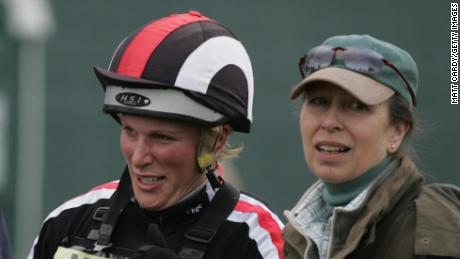 Zara Phillips (left) jokes with her mother Princess Anne at Badminton in 2008.