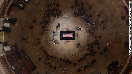 Hundreds stream past George H.W. Bush's casket at Capitol