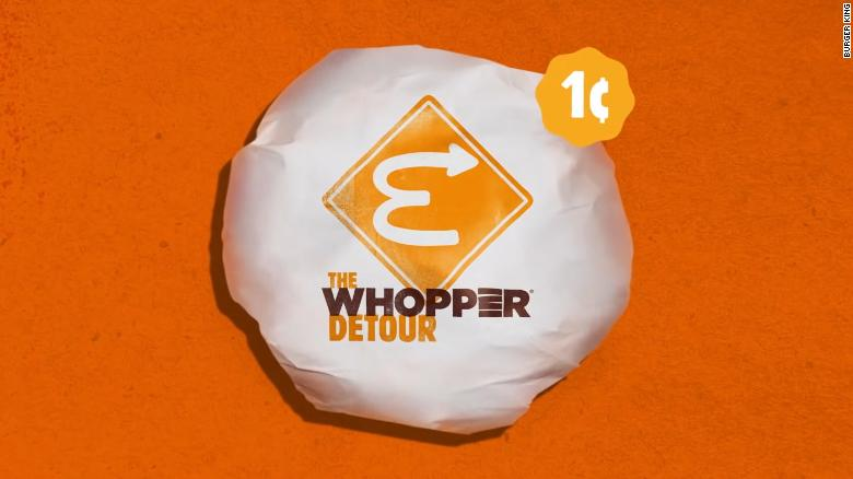 Burger King is offering 1-cent Whoppers 'at' McDonald's