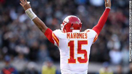 Patrick Mahomes celebrates after a touchdown against the Oakland Raiders. The second-year player is thought to be the front-runner for MVP this season.
