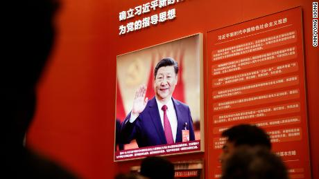 A photo of Chinese President Xi Jinping prominently displayed in the Reform and Opening exhibit in Beijing.
