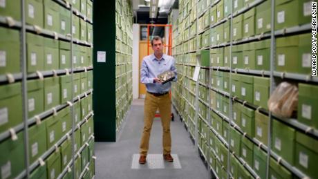 Tom Prescott in the fungarium at Royal Botanic Gardens Kew, which holds approximately 1.25 million specimens of fungi.