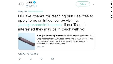 Juul responds to a Twitter user about becoming an influencer.  CNN obscured the name of the user to protect their privacy.