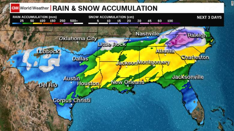Southern US faces snow, sleet, freezing rain