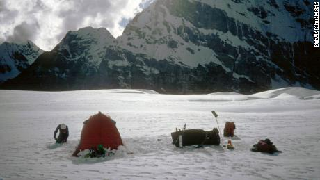 A base camp set up by the expedition.