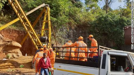 The 13 miners are believed to be stuck 300 feet deep in the Meghalaya mine, an official says.