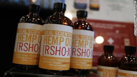 Hemp oil products are displayed during the Cannabis World Congress in New York.