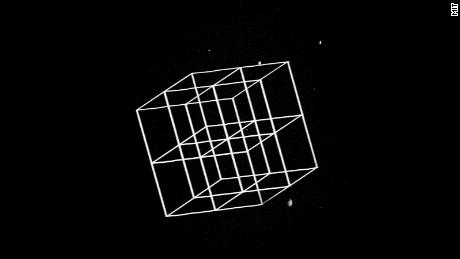 MIT engineers devised a way to create nanoscale objects in 3-D by modeling a larger structure with a laser and then reducing it. This image shows a complex structure before shrinking.