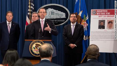 US Deputy Attorney General Rod Rosenstein speaks at a press conference about Chinese hacking at the Justice Department in Washington, DC, on December 20, 2018.