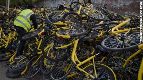 Ofo bikes waiting for repair in Beijing last year.