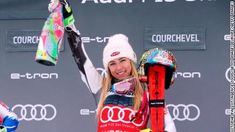 Mikaela Shiffrin celebrates a fourth straight victory at Courchevel.