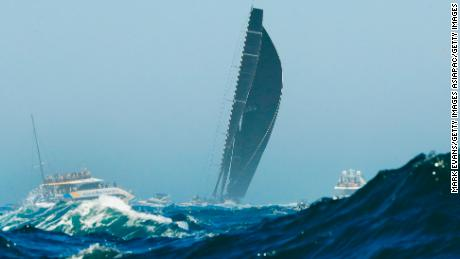 Supermaxi Blackjack battles the swell at the start of the Sydney-Hobart yacht race on Boxing Day.