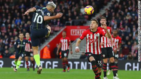 Sergio Aguero heads home Manchester City's third goal in the victory at St Mary's Stadium over Southampton.