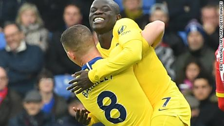 Chelsea's French midfielder N'Golo Kante celebrates after scoring the only goal of his side's win at Crystal Palace.
