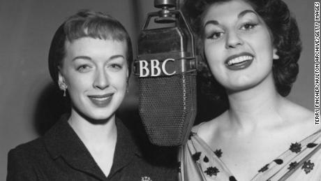 June Whitfield (left) and Alma Cogan rehearse for 'Take It From Here' in 1953.