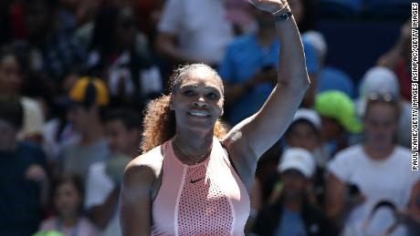 Serena Williams of the United States celebrates winning her Hopman Cup singles match against Maria Sakkari of Greece.