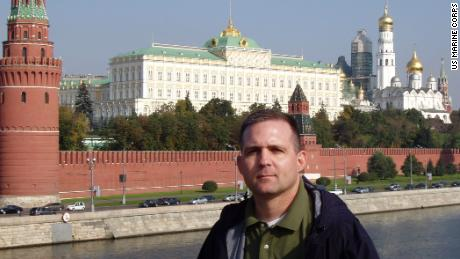 Paul Whelan spent two weeks' military leave in Russia in 2006, according to an article posted on the US Marine Corps website. This photo accompanying the article shows Whelan in front of the Kremlin during that trip.