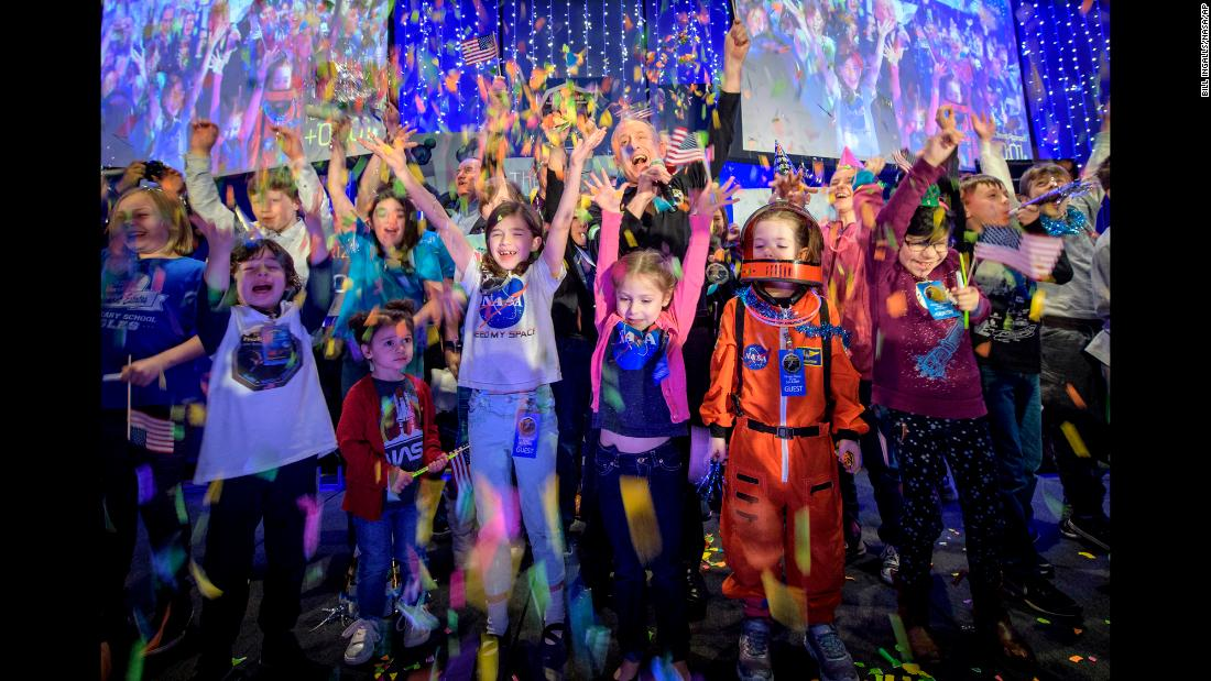 """Alan Stern, the principal investigator of NASA's New Horizons mission, celebrates with schoolchildren in Laurel, Maryland, when the spacecraft <a href=""""https://www.cnn.com/2018/12/28/world/ultima-thule-nasa-new-years-flyby/index.html"""" target=""""_blank"""">made its closest approach to Ultima Thule</a> on Tuesday, January 1. Ultima Thule is a Kuiper Belt object more than 4 billion miles away. The Kuiper Belt is the edge of our solar system, part of the original disk from which the sun and planets formed."""
