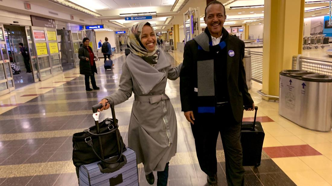 """Ilhan Omar <a href=""""https://twitter.com/IlhanMN/status/1080597207563321344"""" target=""""_blank"""">tweeted this image</a> of her and her father at a Washington airport on Wednesday, January 2. She wrote: """"23 years ago, from a refugee camp in Kenya, my father and I arrived at an airport in Washington DC. Today, we return to that same airport on the eve of my swearing in as the first Somali-American in Congress."""""""