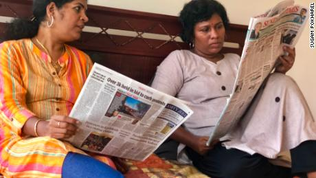 Bindu Ammini (right) and Kanakadurga (left) follow news of the protests sparked by their visit to the Sabarimala temple in southern Kerala state.