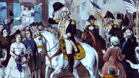 General George Washington makes his triumphal entry into New York after the British left the city in 1783.