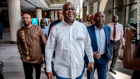 Felix Tshisekedi, center, was named the winner of the Congo's presidential election.