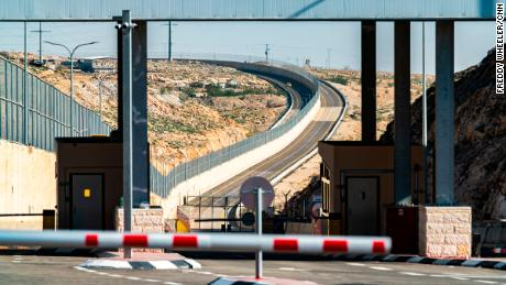 Both sides of the newly constructed road can be seen from a checkpoint in the Binyamin Region.