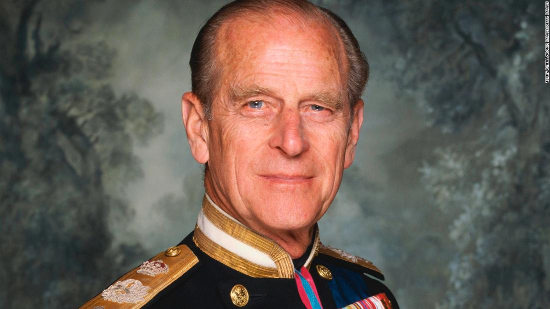英国's Prince Philip, the Duke of Edinburgh, poses in his military dress uniform circa 1990.