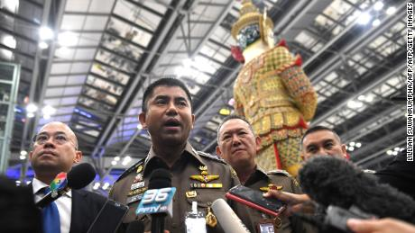 Thai immigration police chief Surachate Hakparn speaks to journalists Friday about Qunun's case at Suvarnabhumi Airport in Bangkok.