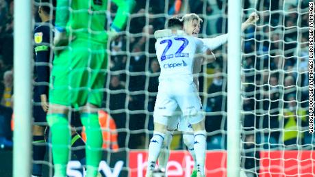 Kemar Roofe and Jack Harrison scored Leeds' goals in their 2-0 win over Derby.