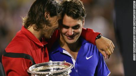 Rafael Nadal (left) consoles Roger Federer after beating him in the 2009 Australian Open final.