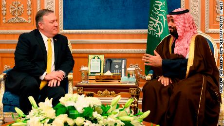 US Secretary of State Mike Pompeo with Saudi Crown Price Mohammed bin Salman in Riyadh on Monday.