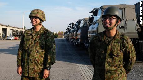 Pvt. Hiroki Yasugahara (left) and Pvt. Katsunari Takahashi (right) are both new recruits.
