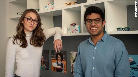 Pair Eyewear cofounders Sophia Edelstein and Nathan Kondamuri met at Stanford University.