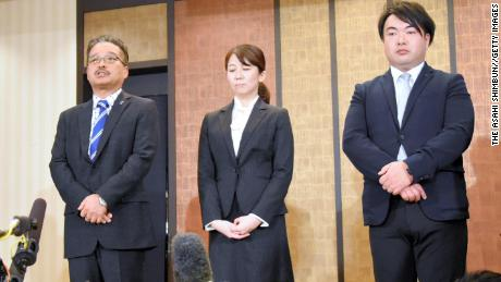 Executives of the AKS, who manage the girl pop band, NGT48, attend a press conference on January 14, 2019, in Tokyo.