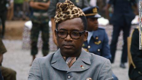 Mobutu Sese Seko sports his signature headgear.