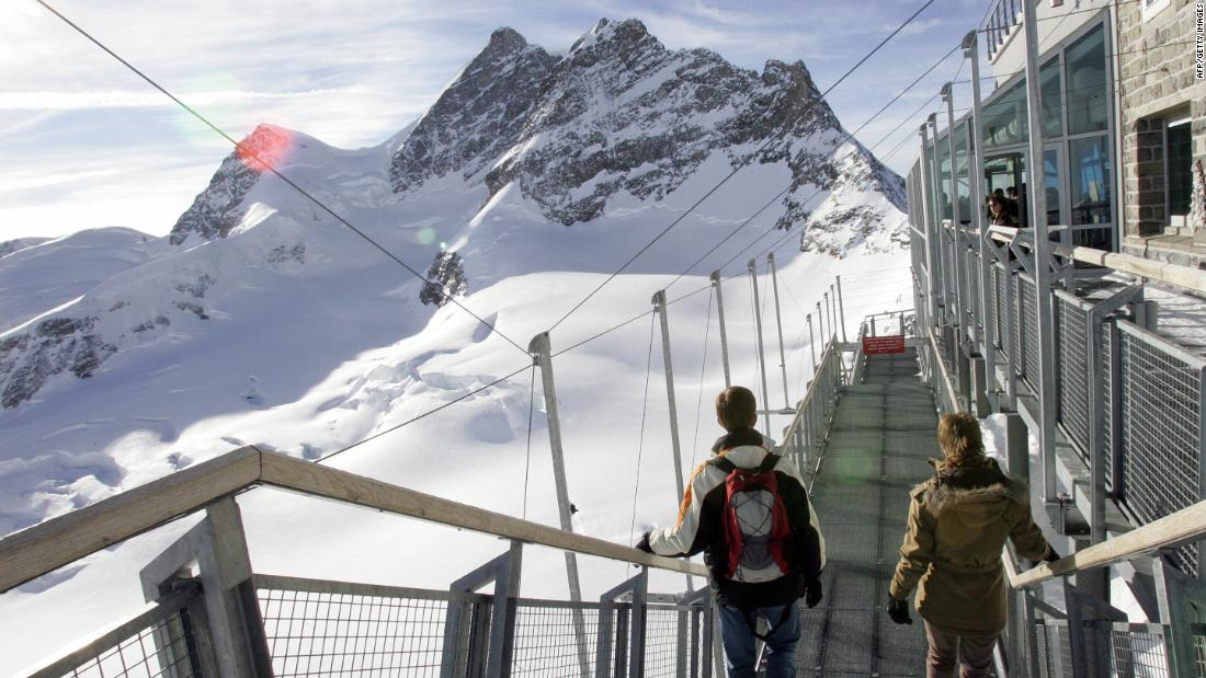 Another cog railway travels up through the heart of the Eiger to the Jungfraujoch and its observatory at the head of the vast Aletsch glacier. The summit of the Jungfrau at 4,158 meters (13,641 feet) is in the distance.