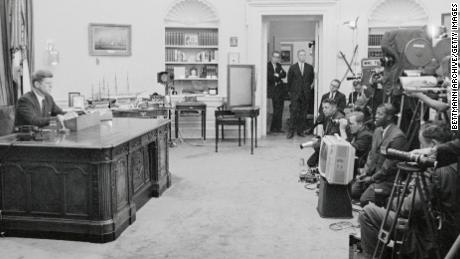 President John F. Kennedy goes on TV to urge passage of a civil rights bill.