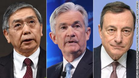 Bank of Japan Governor Haruhiko Kuroda, Federal Reserve Chairman Jerome Powell, Mario Draghi, president of the European Central Bank.