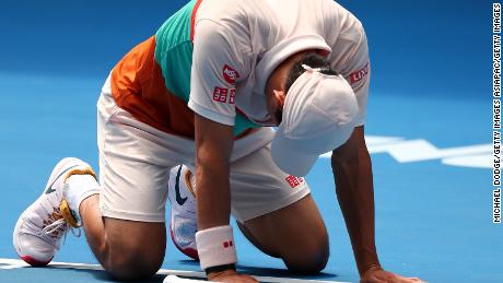 Australian Open - Kei Nishikori outlasts Ivo Karlovic in five sets