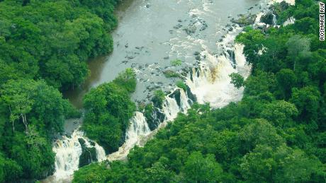 The Thundering Afarama Waterfall in the Okapi Reserve.