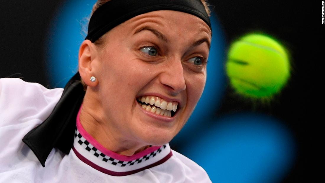 Petra Kvitova of the Czech Republic hits a backhand return of a shot by Romania's Irina-Camelia at the Australian Open  in Melbourne on Wednesday, January 16.