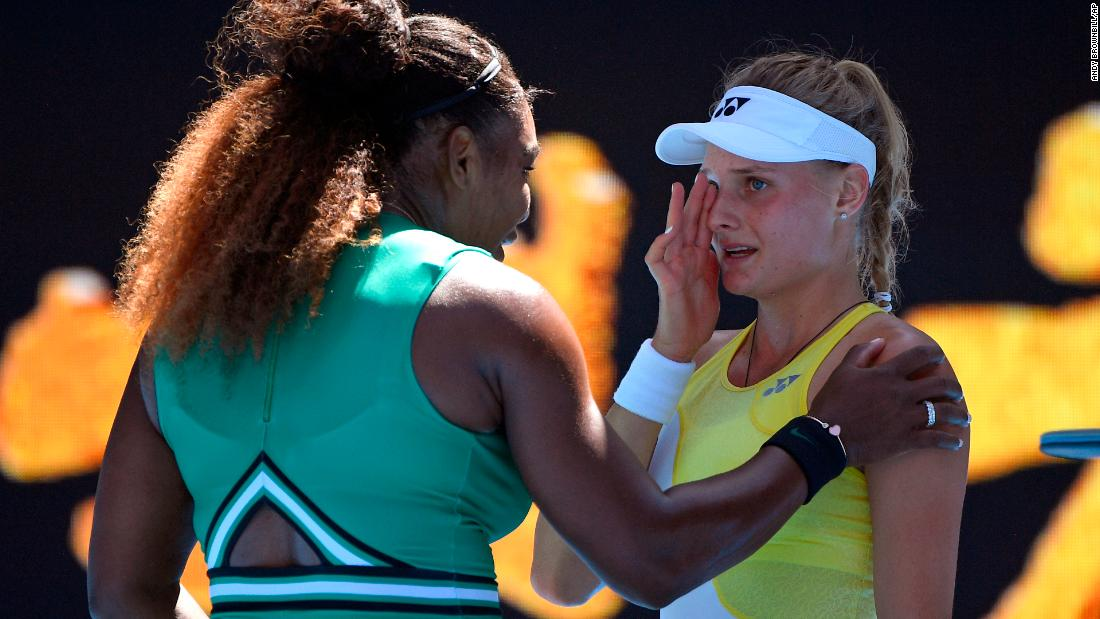 """Serena Williams <a href=""""https://bleacherreport.com/articles/2816567-serena-williams-dayana-yastremska-crying-after-loss-broke-my-heart"""" target=""""_blank"""">consoles Ukraine's Dayana Yastremska</a> after their match at the Australian Open in Melbourne on Saturday, January 19."""