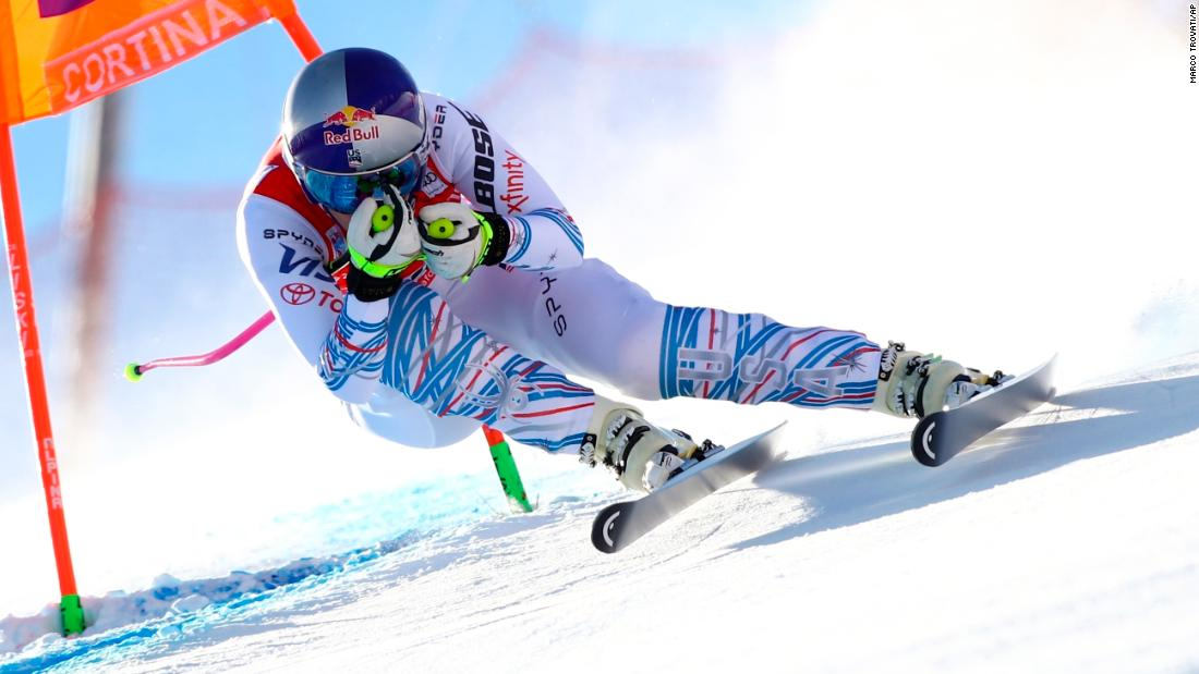 United States skier Lindsey Vonn speeds down the course during the women's World Cup downhill in Cortina D'Ampezzo, Italy, on Friday, January 18.
