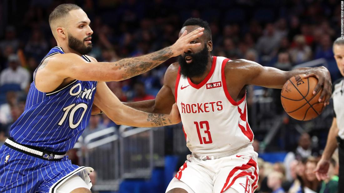 Houston Rockets guard James Harden drives to the basket against Orlando Magic guard Evan Fournier during the second quarter of an NBA game at Amway Center in Florida on Sunday, January 13.