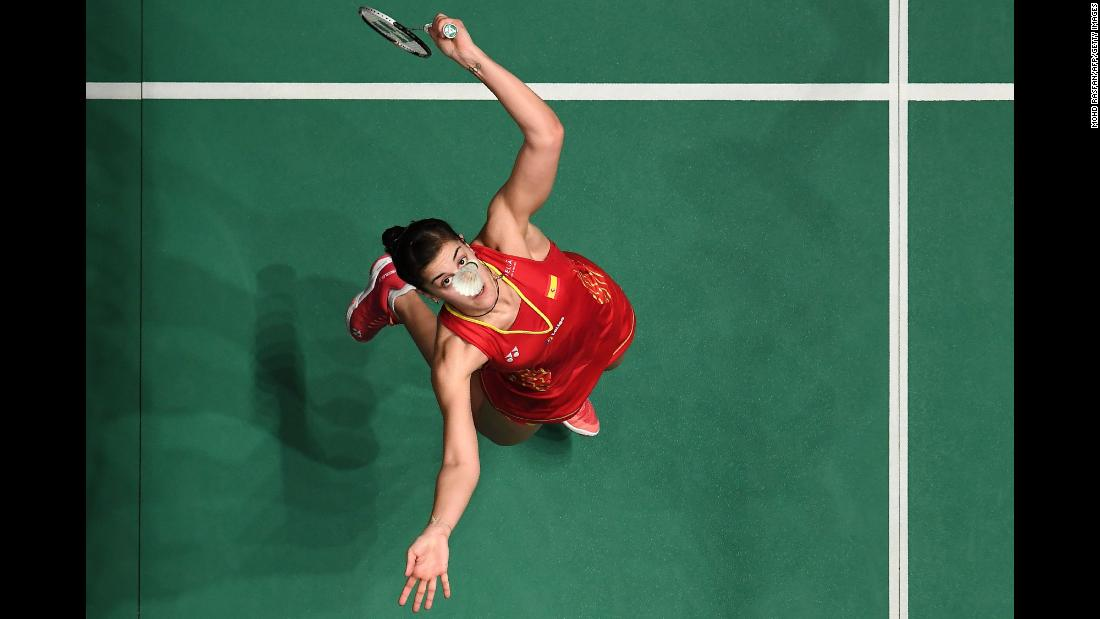 Carolina Marin of Spain hits a return against Sung Ji Hyun of South Korea in their women's singles match at the Malaysia Masters badminton tournament in Kuala Lumpur on Friday, January 18.