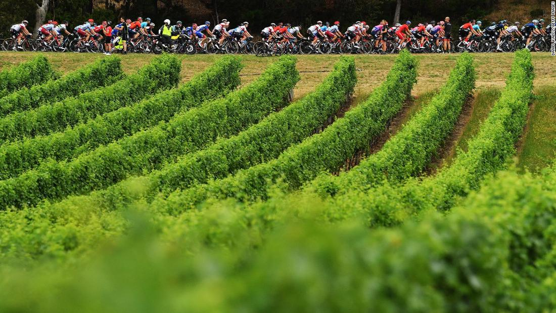 Riders compete during stage three of the Tour Down Under on Thursday, January 17 in Uraidla, Australia.