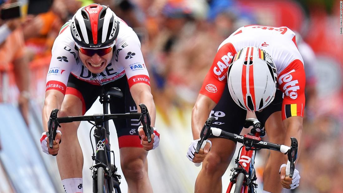 Jasper Philipsen of Belgium, left, and Caleb Ewan of Australia sprint to the line during stage 5 of the Tour Down Under on Saturday, January 19, in Strathalbyn, Australia.