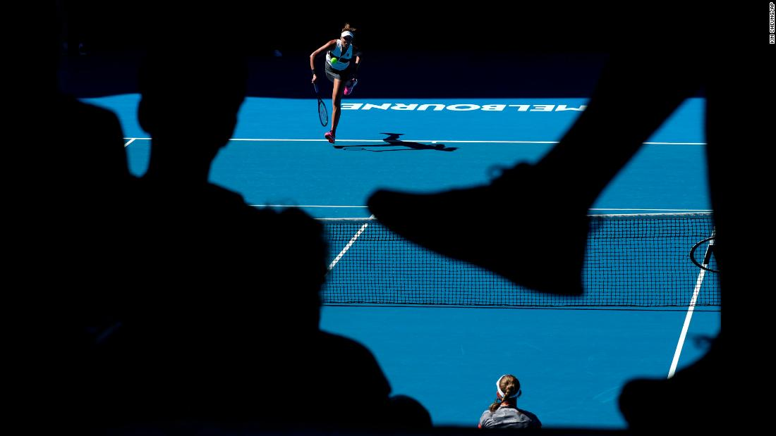 United States' Madison Keys serves to Belgium's Elise Mertens during an Australian Open tennis match on Saturday, January 19.
