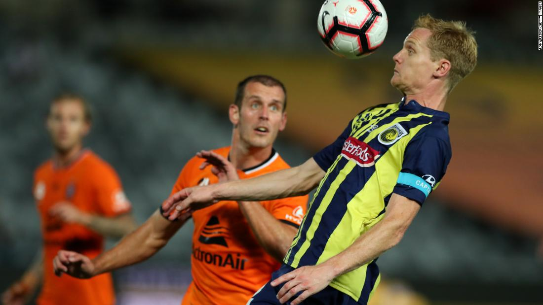 Matt Simon of the Central Coast Mariners controls the ball during a match against the Brisbane Roar at Central Coast Stadium on Sunday, January 20.